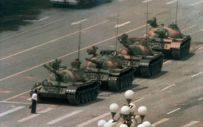 Ajalooline foto Pekingi 1989. aasta meeleavalduste päevilt.