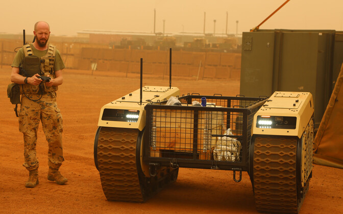 A Milrem Modular Unmanned Ground System (MUGS) being tested by Estonian troops in Mali.