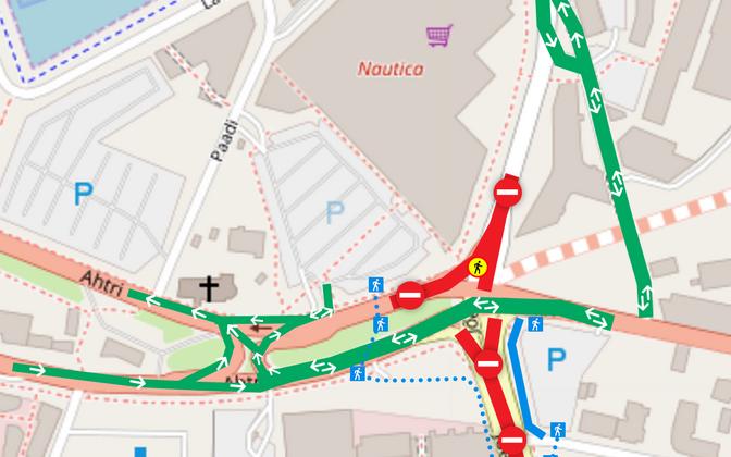 Схема организации движения на перекрестке улиц Ахтри и Йыэ.