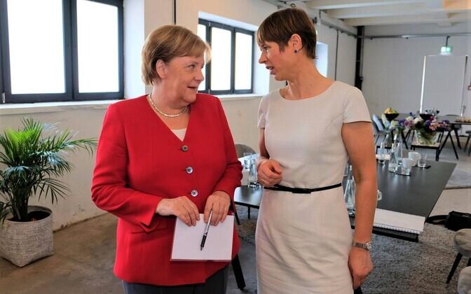 President Kersti Kaljulaid with Chancellor Angela Merkel of Germany.