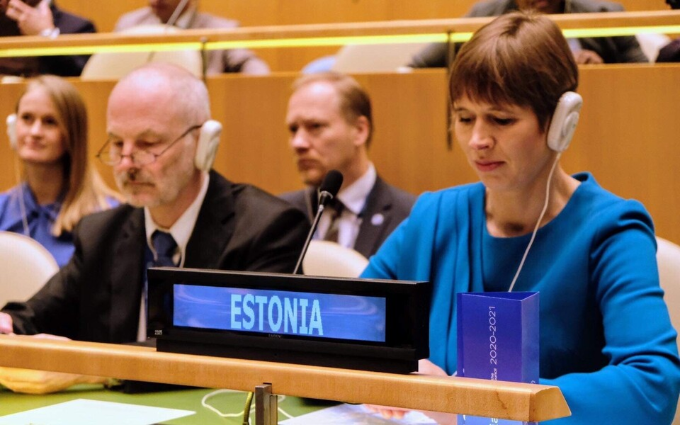 Керсти Кальюлайд на голосовании в ООН.