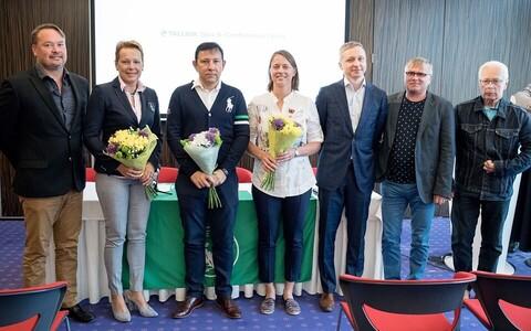 Eesti Tennise Liidu juhatus Peter Roose, Reet Hääl, president Enn Pant, Maret Ani, Silver Vohu, Toomas Kuum ja Heino Raivet.