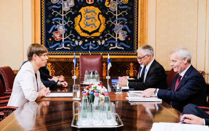 President Kersti Kaljulaid met with Finnish Prime Minister Antti Rinne at Kadriorg Palace on Friday. June 14, 2019.