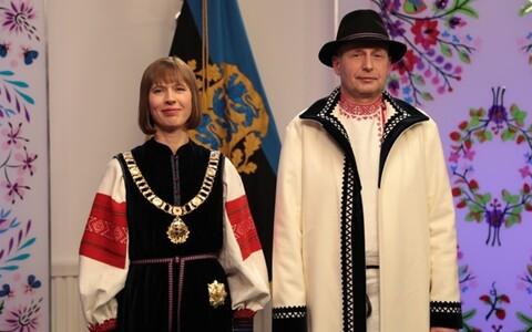 Президент Керсти Кальюлайд с супругом на президентском приеме по случаю Дня республики.