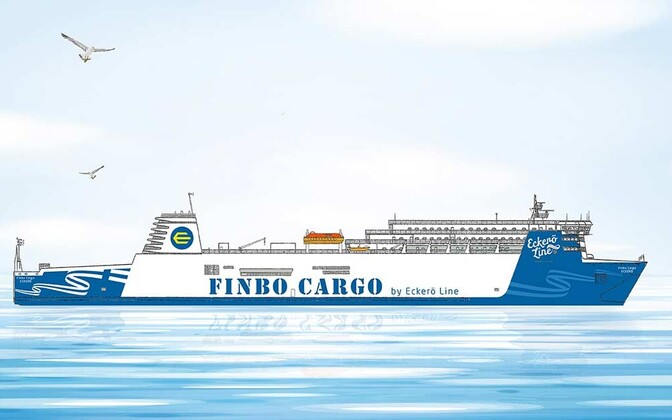 Artist's rendition of the Finbo Cargo as she will appear in Eckerö livery.