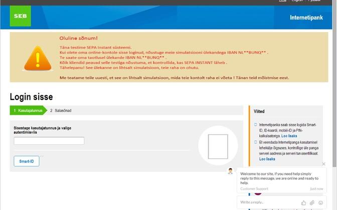 SEB-i kujundusega õngitsuskülg. Nagu näha, on veebiaadress hoopis midagi muud, kui peaks olema.