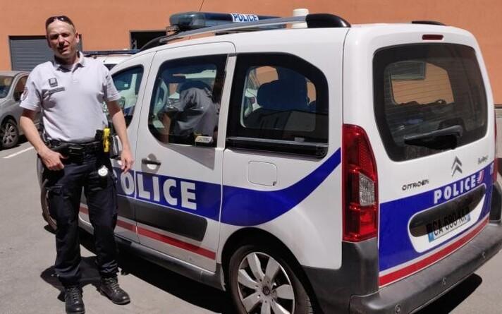 Albi politseinik Christophe V., kes avarii teinud abituriendi eksamile viis.
