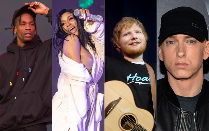 (vasakult) Travis Scott, Cardi B, Ed Sheeran ja Eminem.