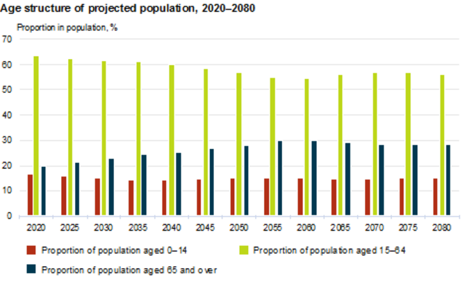 Projected population age structure 2020-2080.