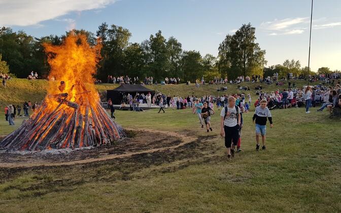 Midsummer bonfire in Kaarma, Saaremaa.