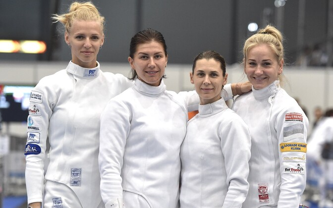 Women's épée team at the European Championships in Düsseldorf. From left, Katrina Lehis, Julia Beljajeva, Irina Embrich, and Kristina Kuusk.