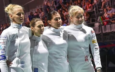 Eesti epeenaiskond EM-il: (vasakult) Katrina Lehis, Irina Embrich, Julia Beljajeva ja Kristina Kuusk.