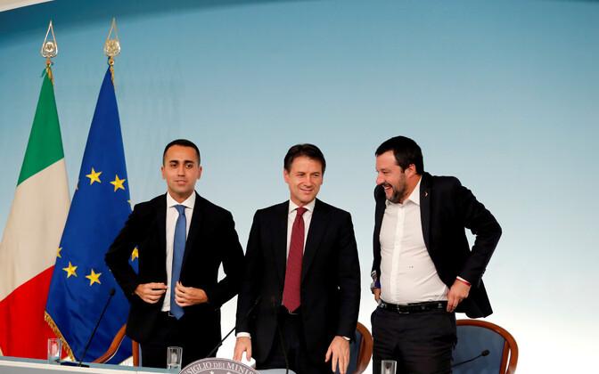 Itaalia asepeaminister Di Maio, peaminister Conte ja asepeaminister Salvini.