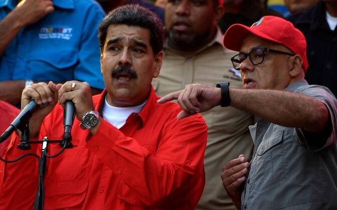 Venezuela president Nicolas Maduro ja kommunikatsiooniminister Jorge Rodriguez