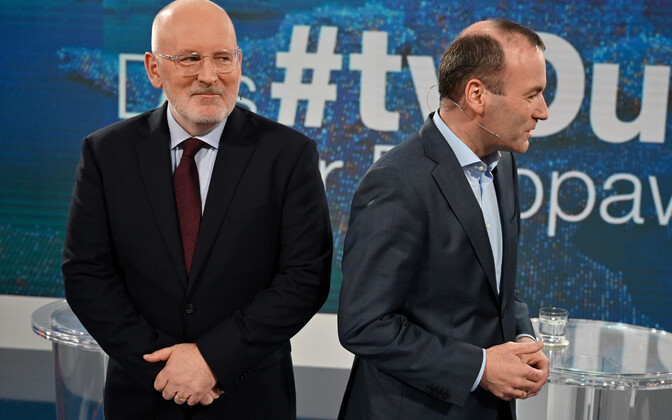 Frans Timmermans ja Manfred Weber eurovalimiste eel debatil.