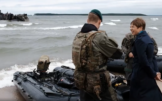 President Kaljulaid chatting with members of Britain's elite Royal Marines, engaged in amphibious landing exercises as part of Baltic Protector 2019.
