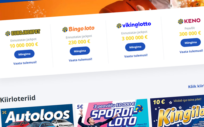 Homepage of Eesti Loto.