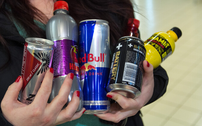A selection of energy drinks, forbidden for sale to minors at Maxima stores in Estonia.