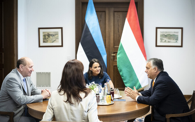 Minister of the Interior and EKRE chairman Mart Helme at a meeting with Hungarian Prime Minister Viktor Orbán.