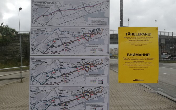 Signs at a bus stop  on Laagna Road warning about the upcoming road closures.