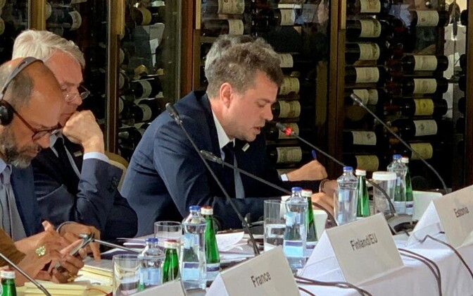 Minister of Foreign Affairs Urmas Reinsalu (Isamaa) speaking at an informal meeting of OSCE foreign ministers in the High Tatras, Slovakia. July 9, 2019.