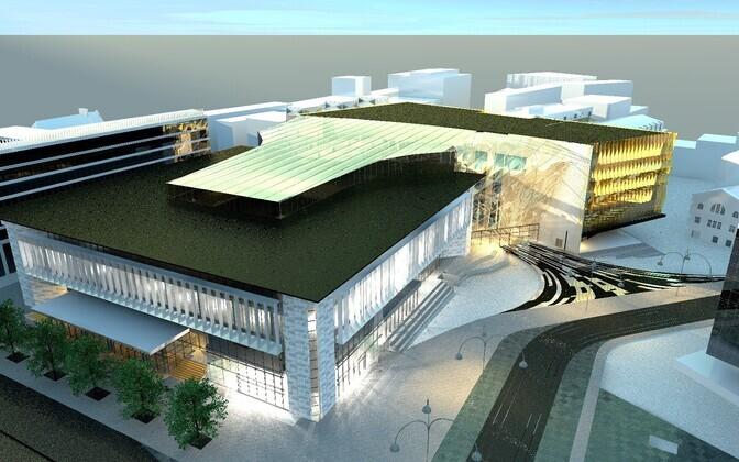 HG Arhitektuuri projekteeritud kavand postimaja ja kinohoone kompleksist, mille ette oli ette nähtud jalakäijate ala.