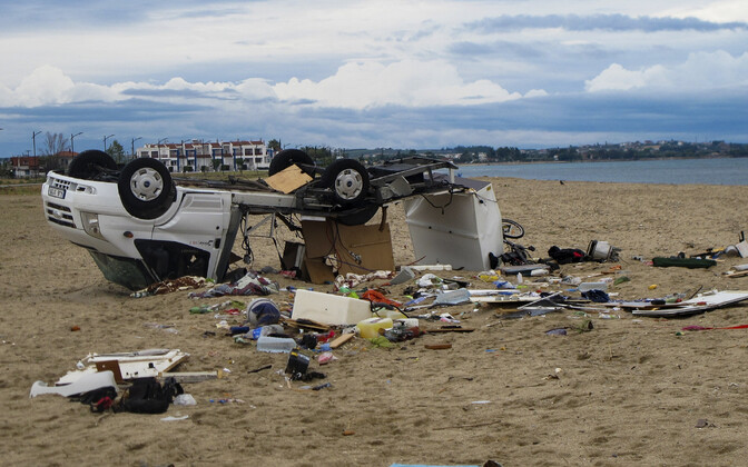 Tormi tõttu purunenud auto Sozopoli külas Halkidiki poolsaarel.