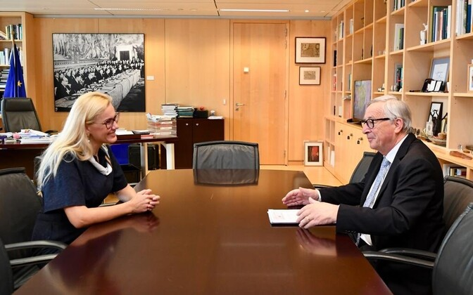 Kadri Simson meeting outgoing European Commission President Jean-Claude Juncker Thursday, after which she confirmed her candidacy would be confirmed before the European Parliament next week.