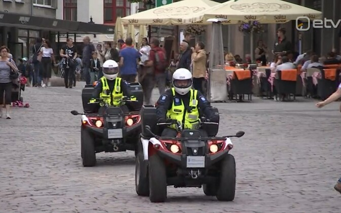 Mupo personnel on ATVs in Tallinn's Old Town.