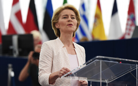 Candidate for president of the European Commission Ursula von der Leyen speaking before the European Parliament on Tuesday. July 16, 2019.