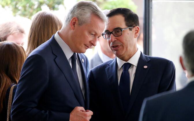 Prantsuse rahandusminister Bruno Le Maire ja USA rahandusminister Steven Mnuchin Chantilly's G7 rahandusministrite kohtumisel.