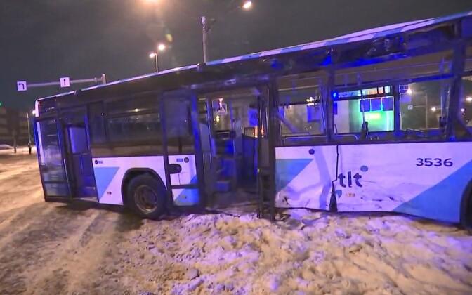 A Tallinn city bus involved in a crash.