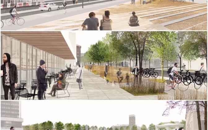 """Peatänava arhitektuurivõistluse võidukavand """"Kevad linnas"""