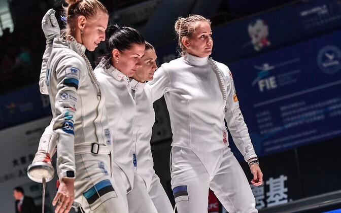 The Estonian women's épée team: Katrina Lehis, Julia Beljajeva, Irina Embrich and Kristina Kuusk.