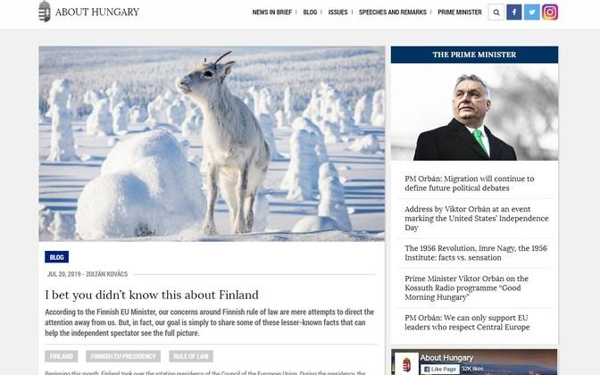 Ungari riiklik blogi About Hungary ja Soomet käsitlev artikkel.