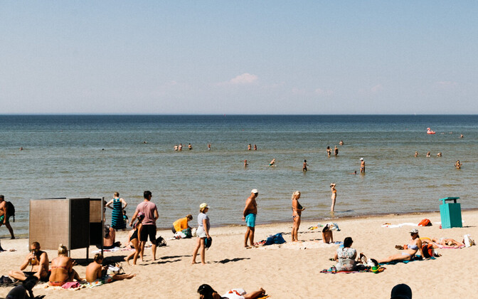 Beachgoers at Tallinn's Pirita Beach.