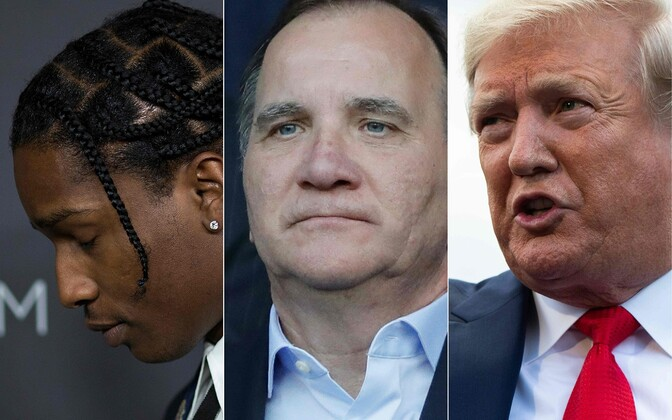 A$AP Rocky (vasakul), Rootsi peaminister Stefan Lofven (keskel) ja USA president Donald Trump.