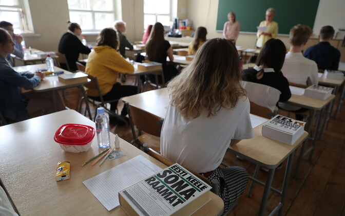 Estonian language state exam taking place at the Jakob Westholm upper secondary school in Tallinn.