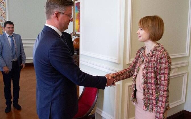 Новоназначенный посол Эстонской Республики Каймо Кууск и Елена Зеркаль.