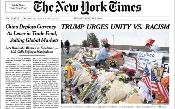 New York Timesi esialgne pealkiri.