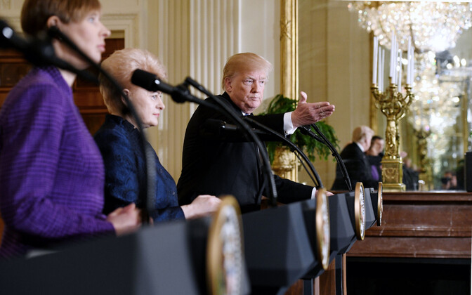U.S. President Donald Trump and the presidents of the Baltic states at a press conference at the White House. April 2018.