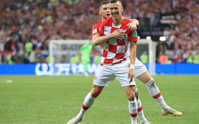Ivan Perisic tähistamas Horvaatia viigiväravat MM-finaalis Prantsusmaa vastu
