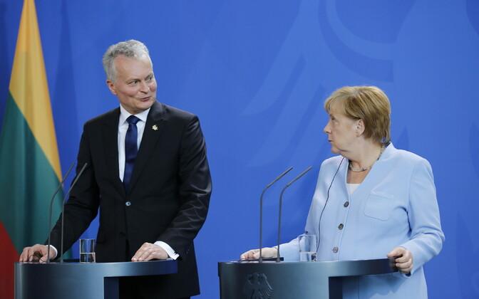 Leedu president Gitanas Nausėda 14. augustil Berliinis kohtumisel Angela Merkeliga.