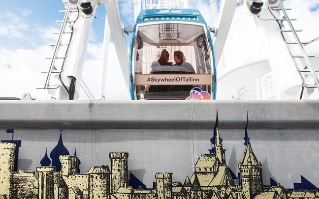 Familiar towers of Tallinn featured on the platform of the Skywheel of Tallinn.