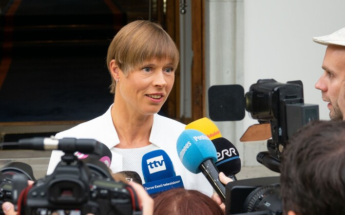 President Kersti Kaljulaid following her summit with prime minister Jüri Ratas at Kadriorg Monday evening.