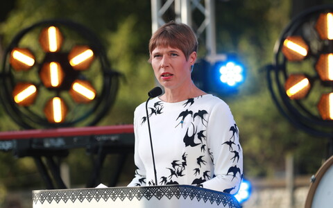 President Kersti Kaljulaid delivering a speech in the Rose Garden at Kadriorg Palace on the Day of Restoration of Independence. Aug. 20, 2019.