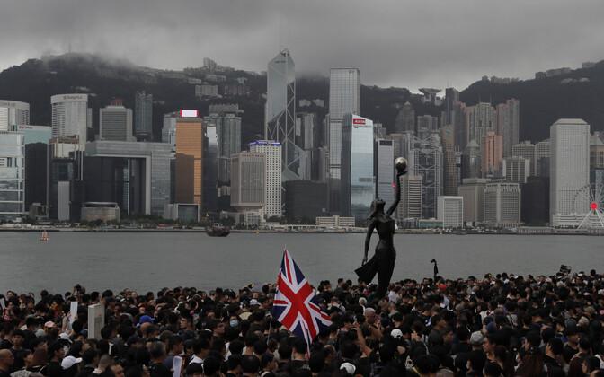 Briti lipp Hongkongi meeleavaldusel 7. juulil.
