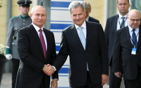 Russian President Vladimir Putin meeting Finnish counterpart Sauli Niinistö in Helsinki, Wednesday, Aug. 21.