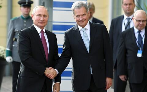 Russian President Vladimir Putin meeting Finnish counterpart Sauli Niinistö in Helsinki, Wednesday, Aug. 21.