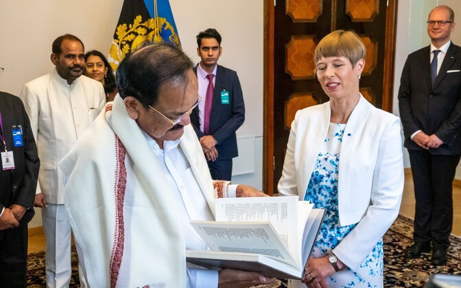 President Kersti Kaljulaid meeting Indian Vice President Venkaiah Naidu at Kadriorg Palace